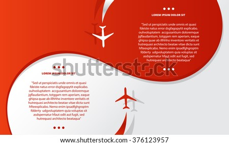 Vector brochure with airplanes and airplane stream jet, minimalistic style, card for travel agencies, aviation companies. - stock vector