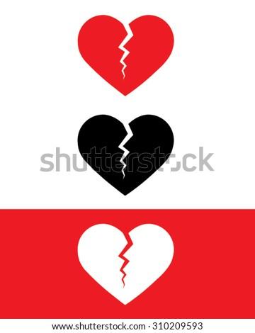 Vector Broken Heart Symbol Set in Colour, Black and ...