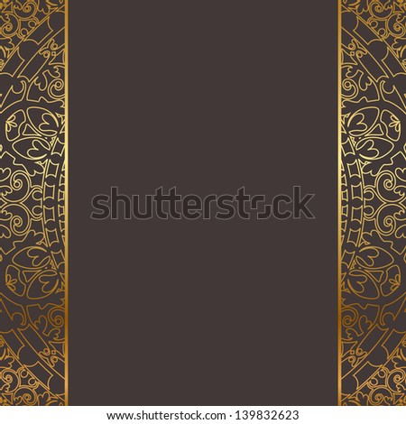 Vector brown and gold frame - stock vector