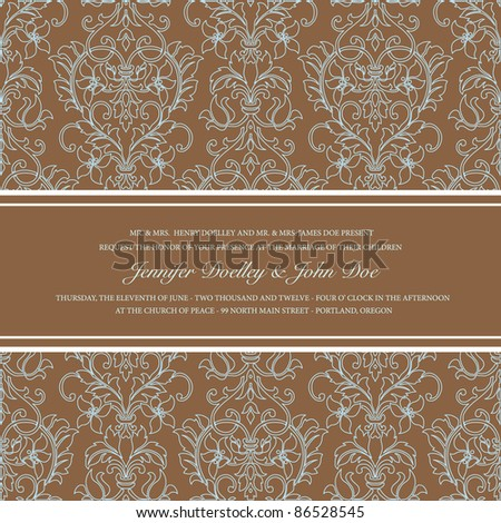 Vector Brown Damask Outline Background. Easy to edit. Perfect for invitations or announcements. - stock vector