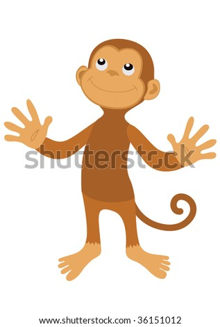 Vector brown happy monkey with smile on face - stock vector