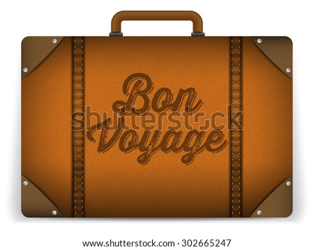 Vector - Brown Luggage Bag Illustration - stock vector