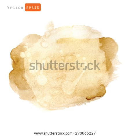 Vector brown watercolor texture, coffee color, hand painted, isolated on white background.  - stock vector