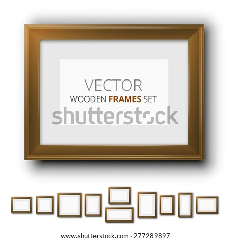 Vector brown wooden frames for pictures.  Different size and proportion collection - stock vector