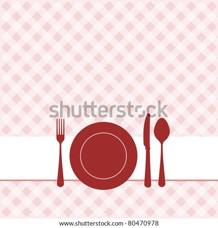 Vector brunch invitation with red pattern - stock vector