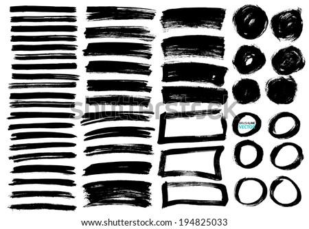 Vector brush lines set - stock vector