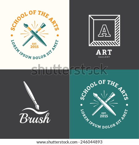 Vector brush logo for school drawing or art studio - stock vector