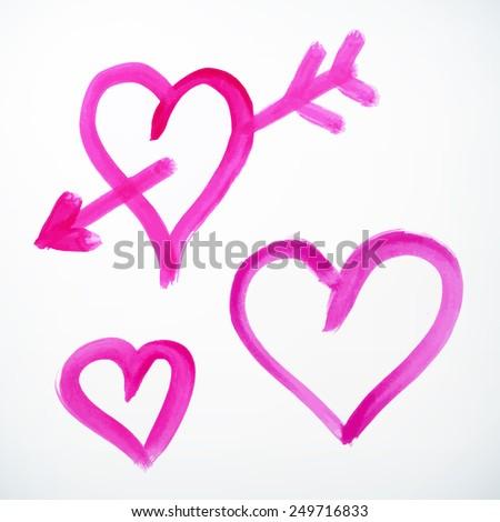 vector brush stroke hand drawn hearts with arrow. isolated.  - stock vector