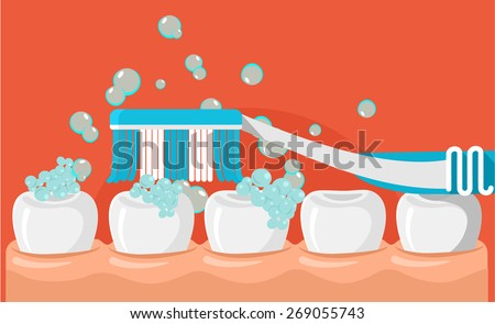 Vector brushing teeth flat illustration - stock vector