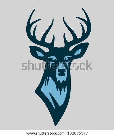 Vector buck deer illustration mascot in blue - stock vector