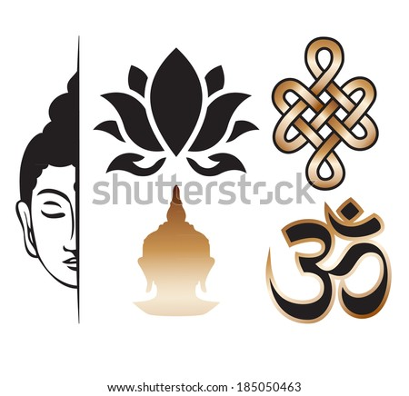 Vector buddhism sign elements - set - stock vector