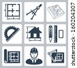 Vector building design icons set: layout, pair of compasses, protractor, pencil, ruler, eraser, blueprint, designer, drawing board - stock vector
