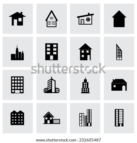 Vector building icon set on grey background - stock vector