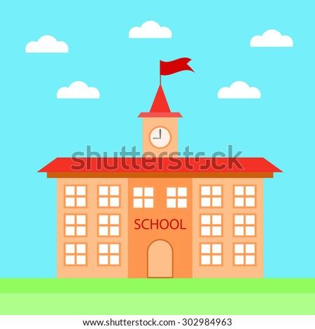 Vector Building School Icon on Blue Sky Bakground. Back to School - stock vector