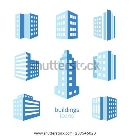 Vector buildings icons. Set of different buildings in blue tone - stock vector