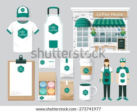 Vector buildings restaurant and cafe shop front design, flyer, menu, package, t-shirt, cap, uniform and display design/ layout set of corporate identity mock up template. - stock vector