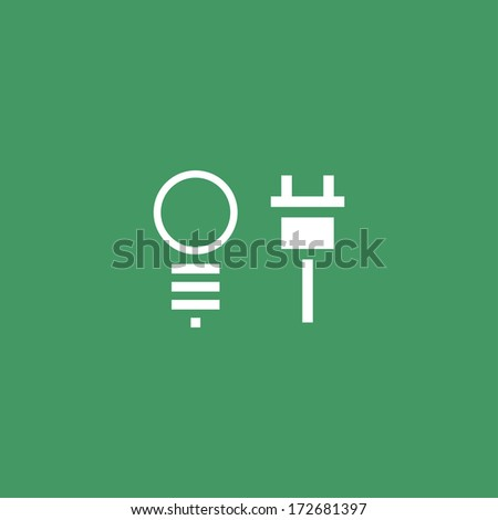 Vector bulb and plug icons - stock vector
