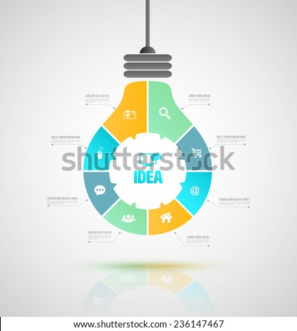Vector bulb business concepts with icons. can use for infographic, loop business report or plan, modern template, education template, business brochure, system diagram. Vector illustration. - stock vector