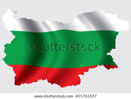 Vector Bulgaria flag blowing in the wind in Bulgaria map shape - stock vector