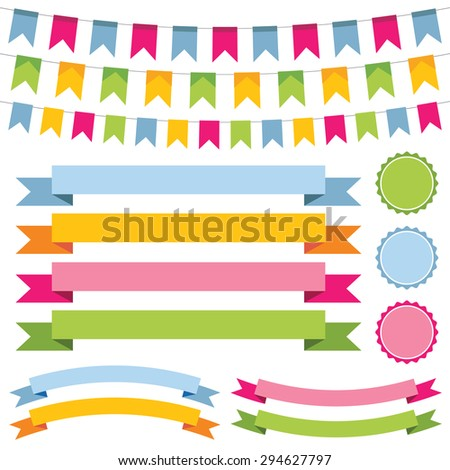 Vector bunting, banner ribbons and labels set - stock vector
