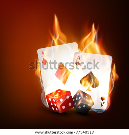 vector burning casino playing cards with dice - stock vector