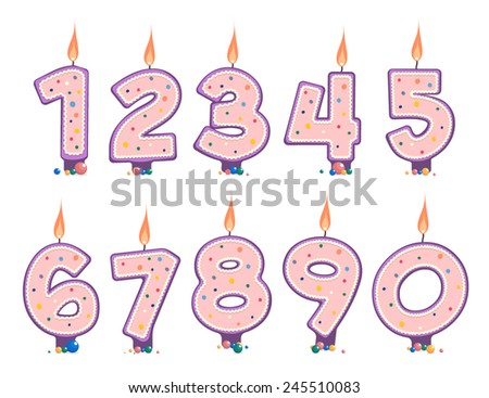 Vector burning number candles for Birthday cake - stock vector