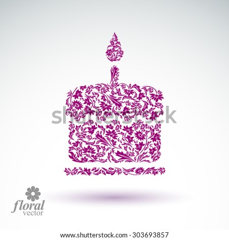 Vector burning wax candle, flower-patterned illustration of a twinkle flame,?? spiritual stylized icon. - stock vector