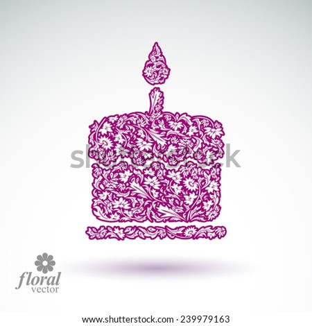 Vector burning wax candle, flower patterned illustration of a twinkle flame spiritual stylized icon. - stock vector