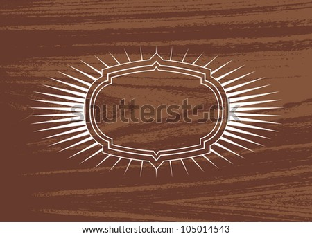 Vector Burst Frame and Wood Background. Easy to edit. Perfect for invitations or announcements. - stock vector