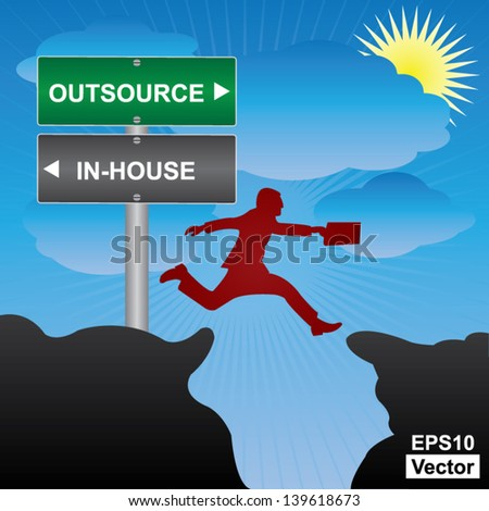 Vector : Business and Finance Concept Present By Jumping Through The Valley Gap With Green and Gray Street Sign Pointing to Outsource and In-House in Blue Sky Background - stock vector