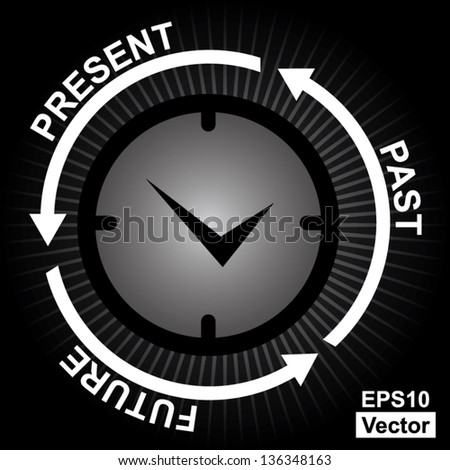 Vector : Business and Finance or Time Management Concept Present By Clock With Present, Past and Future Arrow Around in Black Shiny Background - stock vector