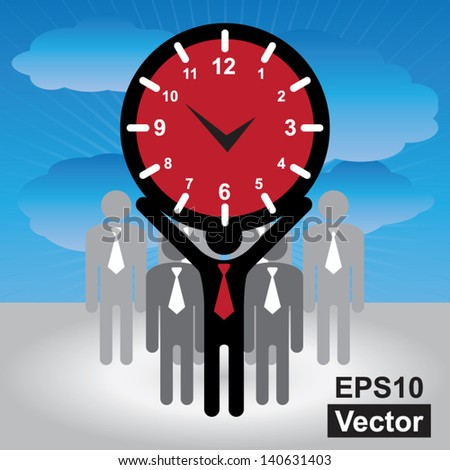 Vector : Business and Finance or Time Management Concept Present By Group of Businessman With Red Clock or Time Sign on Hand in Blue Sky Background - stock vector