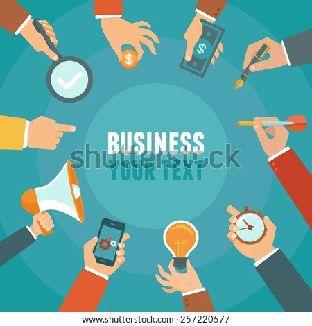 Vector business and management concept in flat style - banner with copy space for text with businessman hands - stock vector