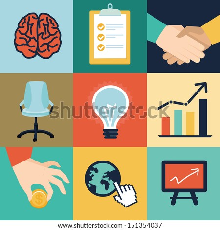 Vector business and office icons and illustrations - start up concept in flat retro style - stock vector