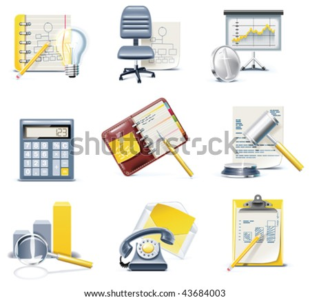 Vector business and office icons. Part 3 - stock vector