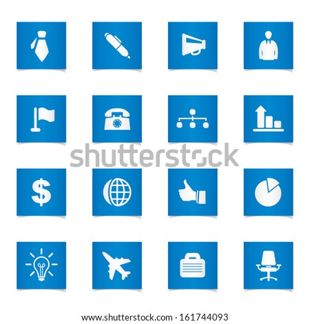 Vector business and office icons set. - stock vector
