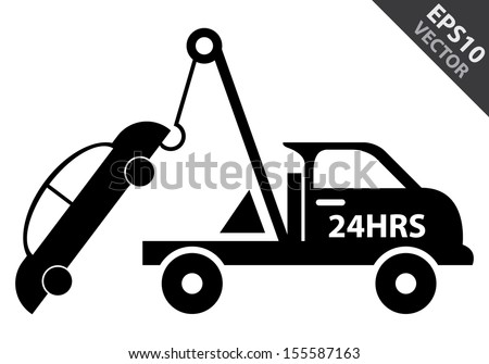 Vector : Business and Service Concept Present By Black Glossy Style 24HRS Tow Car Sign Isolated on White Background - stock vector