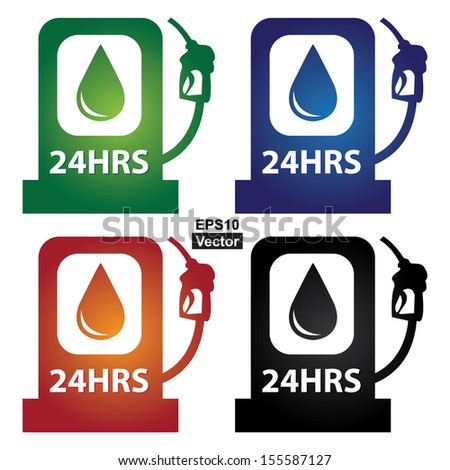 Vector : Business and Service Concept Present By Colorful  Glossy Style 24HRS Petrol Station Sign Isolated on White Background - stock vector