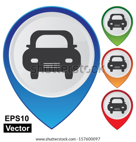 Vector : Business and Service Concept Present By Colorful Glossy Style Map Pointer With Car Parking or Car Showroom Sign Isolated on White Background - stock vector