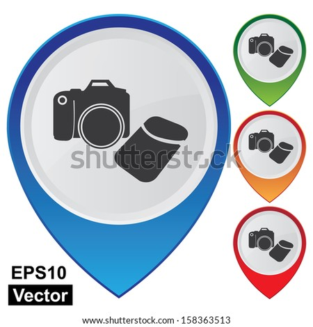 Vector : Business and Service Concept Present By Colorful Glossy Style Map Pointer With DSLR Camera, Camera,Photographer or Hobby Shop Sign Isolated on White Background  - stock vector