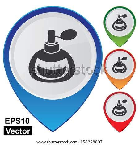 Vector : Business and Service Concept Present By Colorful Glossy Style Map Pointer With Perfume or Fragrance Shop Sign Isolated on White Background  - stock vector