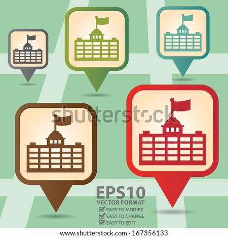 Vector : Business and Service Concept Present By Colorful Vintage Style Map Pointer Icon With Official Place, Immigration Bureau, Embassy, Consulate, School or University Sign in POI Map Background - stock vector
