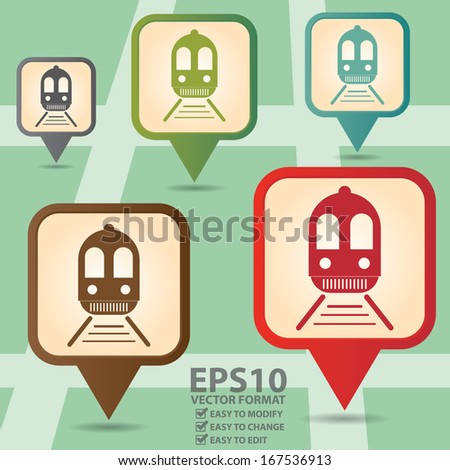 Vector : Business and Service Concept Present By Colorful Vintage Style Map Pointer Icon With  Train, Tram, Railway Station, Subway Station or Logistic Sign in POI Map Background - stock vector