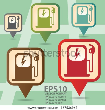 Vector : Business and Service Concept Present By Colorful Vintage Style Map Pointer Icon With Electromobile Charge Station Sign in POI Map Background - stock vector