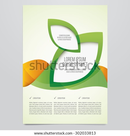 Vector business brochure, flyer template. Modern green and orange corporate design. - stock vector