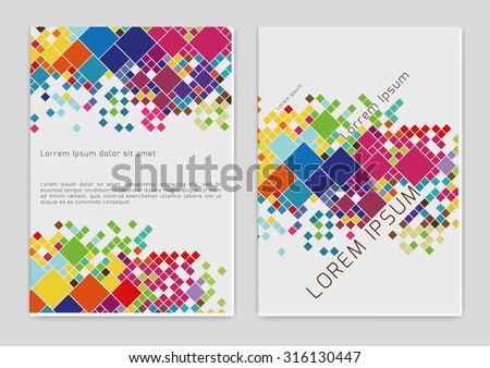 Vector  business brochure or magazine  with color squares cover  template - stock vector