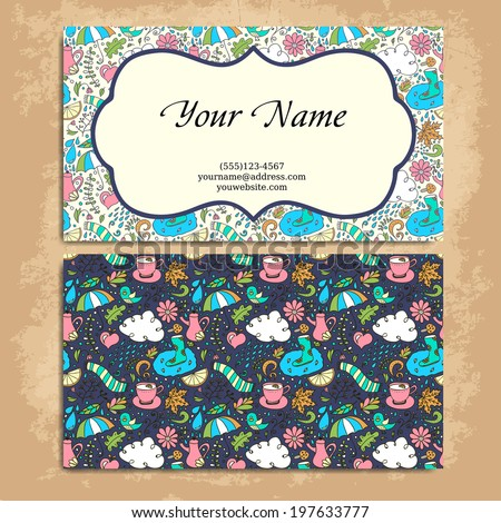 Vector business card.  Card or invitation. Vintage decorative elements. Hand drawn background. - stock vector