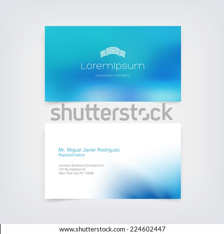 Vector business card design template with blue blurred unfocused bokeh background and a modern building logo - stock vector