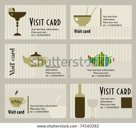Vector business card for cafe and restoran - stock vector