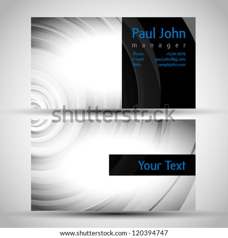 Vector business card front and back - stock vector